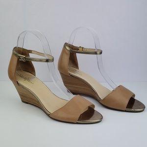 Cole Haan Brown Wedge Stacked Heel Sandle Size 8